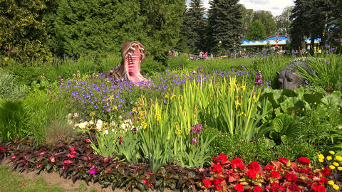 Flowerbed At An Amusement Park. Hippo. 4K stock footage