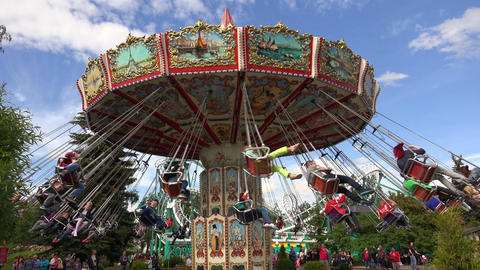 Extreme attraction. Carousel. 4K Footage