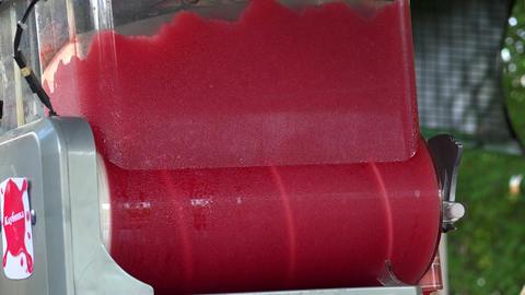 Mixer with strawberry ice cream. 4K Footage