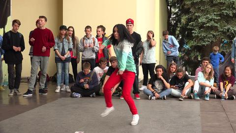 Young girl dancing rap, break. 4K Footage