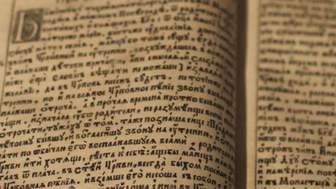 Ancient manuscript reading Footage