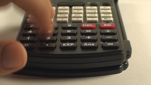Man Hand With Scientific Calculator, Pushing Numbe Footage