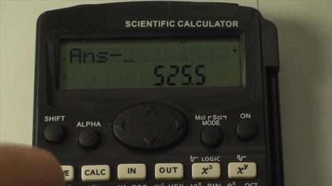 Man Hand With Scientific Calculator, Pushing Numbe stock footage