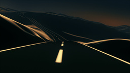 Road trip through the mountains. Color, sunset Animation
