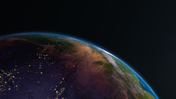 Earth view from space with night city lights. Asia Animation