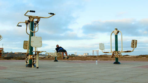 dolly shot of a woman working out on Cape Verde Footage