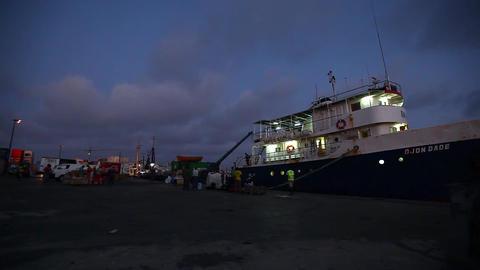 Boat At A Harbor On Boa Vista stock footage
