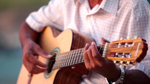 Man Is Playing A Guitar stock footage