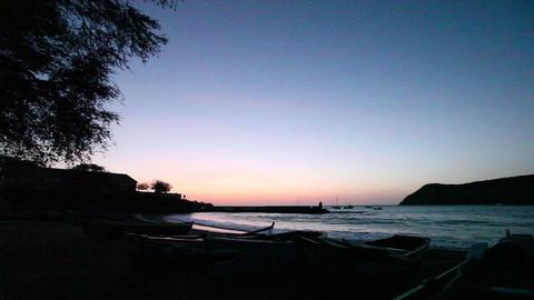 dolly shot of boats lying at the beach at Tarrafal Footage