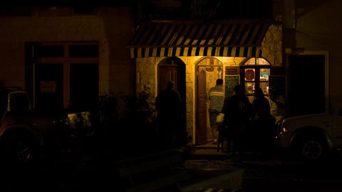Men In Front Of A Small Restaurant In Cape Verde stock footage