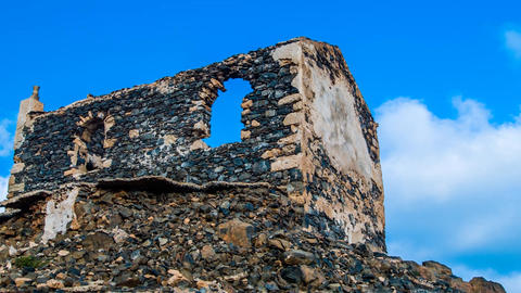 dolly shot of a ruin on Cape Verde Footage