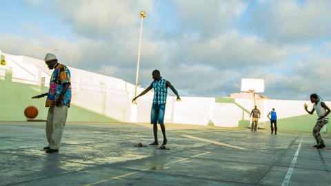 game of basketball on Cape Verde Footage