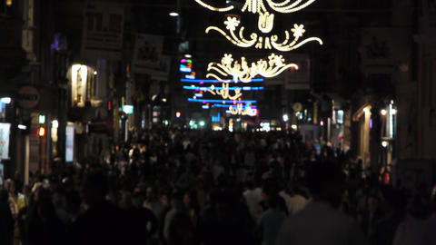 Crowded street at night Footage