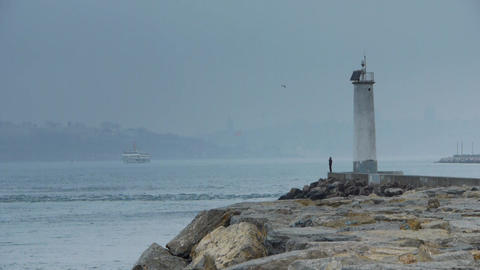 Scenic Lighhouse Stock Video Footage