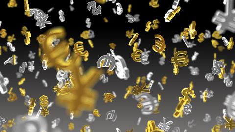Money Symbol 2B dollar Euro Yen b Stock Video Footage