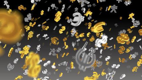 Money Symbol 2E dollar Euro Yen b HD Stock Video Footage