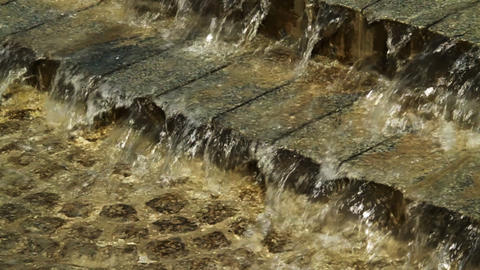 Water on paving stones Stock Video Footage