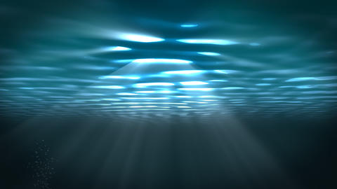 Underwater scene with sunrays shining through the water's surface. (Looping) Animation
