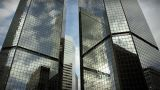 1185 City Skyscrapers Urban Buildings Architecture Timelapse Clouds LOOP stock footage