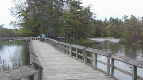 Boardwalk with people in distance Stock Video Footage