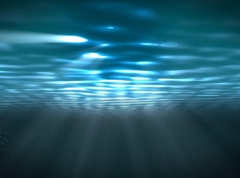 Underwater scene with sunrays shining through the water's... Stock Video Footage