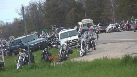 Gathering of bikers with bikes passing Stock Video Footage