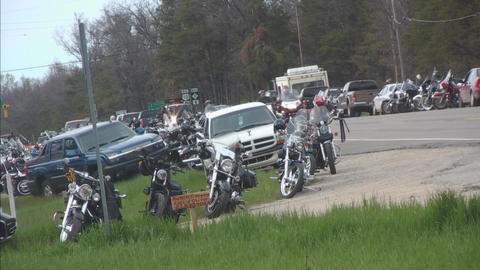 Gathering of bikers with bikes passing Footage