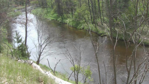 River water flowing pan Stock Video Footage