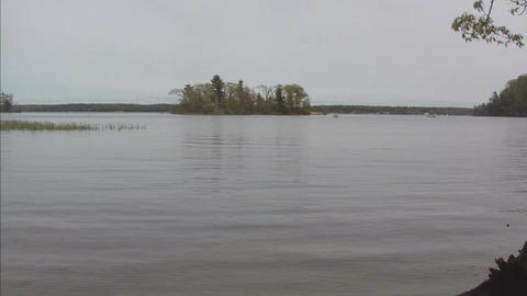 Water level view of island Stock Video Footage