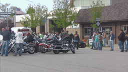 Motorcycle group parked in main street 2 Footage