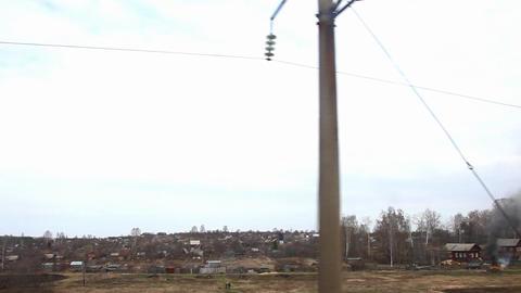 railway near village Stock Video Footage