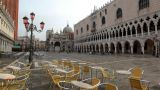 Empty Cafe On San Marco Square stock footage