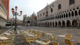 empty cafe on San Marco square Stock Video Footage