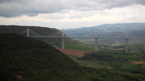 Valley and bridge, France Stock Video Footage