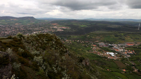 Panorama to bridge Viaduc de millau, France Stock Video Footage