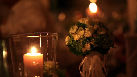 candle and flowers Stock Video Footage