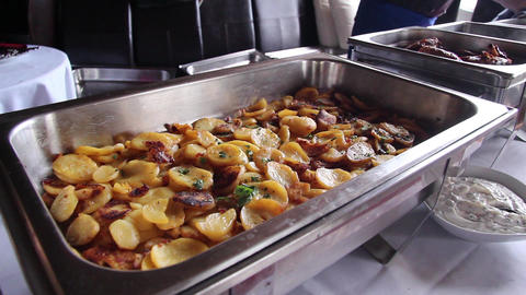 Fried Potatoes stock footage