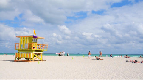 Lifeguard house on South Beach, Miami Footage