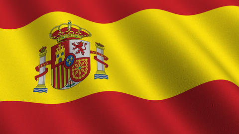 Flag of Spain waving in the wind - seamless loop Animation