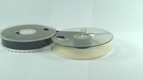 VHS Tape Reels, Isolated On White, Old, Media, Ret Footage