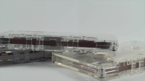 Audio Cassettes Isolated On White, Retro, Media, O Footage