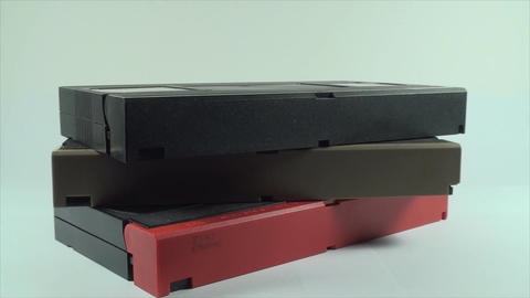 Stack Of VHS Tapes, Isolated On White, Retro, Medi Footage