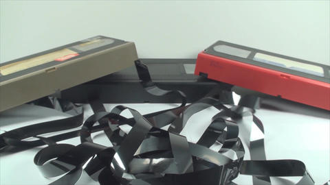 Broken VHS Cassettes, Loose Tape, Isolated On Whit Footage