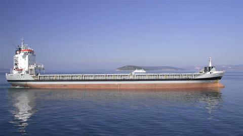AERIAL: Cargo ship Footage