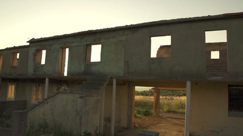 Ruined House In War stock footage