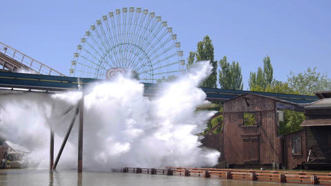 SLOW MOTION: Water coaster Footage