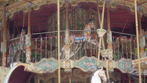 SLOW MOTION: Carousel Horses stock footage