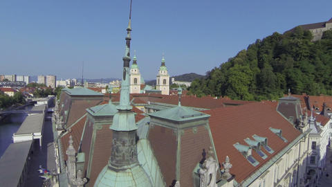 AERIAL: Ljubljana City Center stock footage