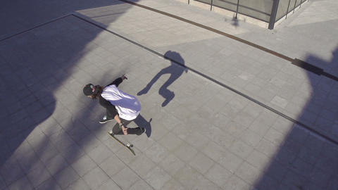 AERIAL SLOW MOTION: Skateboarding trick Footage