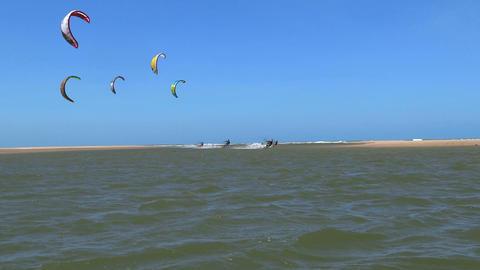 Kitesurfers riding towards the camera Footage